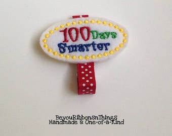 100 Days Smarter | Hair Clips for Girls | Toddler Barrette | Kids Hair Accessories | Grosgrain Ribbon | Felties | No Slip Grip