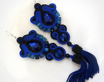 Navy blue Tassel Soutache Earrings gift Blue Long Oscar tassel earrings Soutache gioielli Orecchini soutache earrings Wife gift earrings