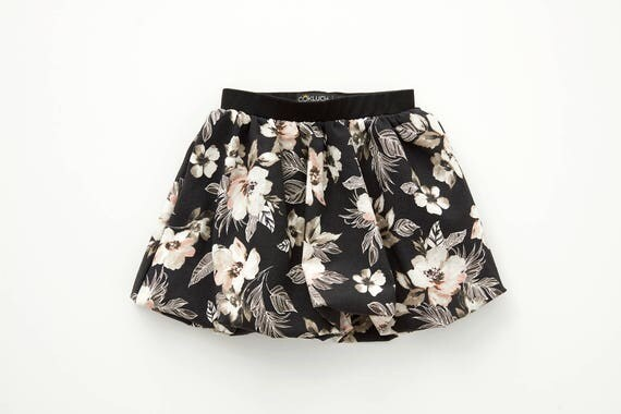 MARGUERITE - short bubble skirt, ball skirt for kids: littles girls - black with flowers print