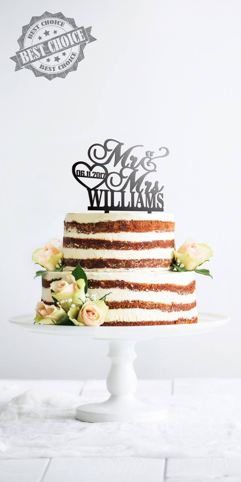 Personalized Wedding Cake Topper Customized Cake Topper With Last ...