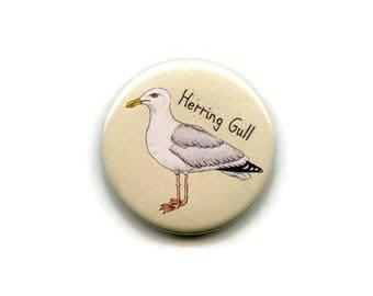 Herring Gull Magnet, 38mm Round Button Sea Bird Seagull Fridge Magnet