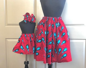 Red African Drops Mommy and Me Skirts, Mothers Day, Head Wraps, Ladies Skirt, Girls Skirt, African Clothing, Girls Clothing