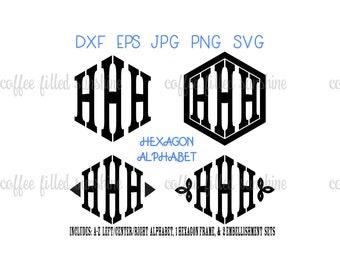HEXAGON MONOGRAM LETTERS, Hexagon Shaped Font, Hexagon Alphabet, Boys Monogram, svg Font, vector font, Digital Cut File, Instant Download