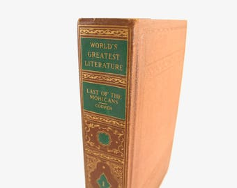 "Vintage 1930s ""The Last of the Mohicans"" hardcover book by James Fenimore Cooper - Spencer Press, Native American, gilded cover, lovely!"