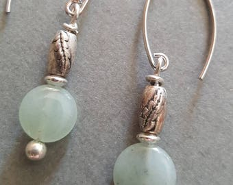 Jade Silver Beaded Dangle Earrings