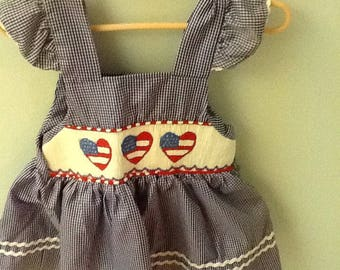 size 3T navy and white check dress