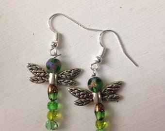 Beaded Drangonfly Dangle Earrings