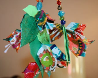 Origami Multicolor Bellflowers And Leaves Double Sided Hanging Ornament