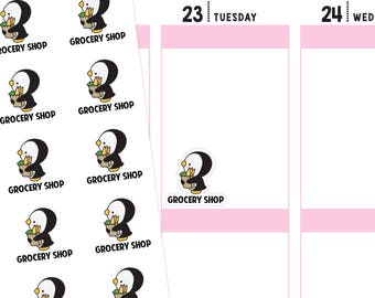 Grocery Shop Planner Stickers, Grocery Shop Stickers, Grocery Stickers, Shop Stickers, Food Stickers, Penguin Stickers