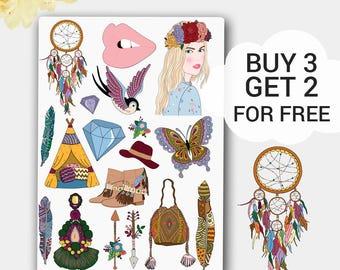 Forever Boho Stickers,Boho Sticker Set,Feather Stickers,Tribal Sticker,Wigwam,Mambi Stickers,Happy Planner,Kikki K Sticker,Dream Catcher