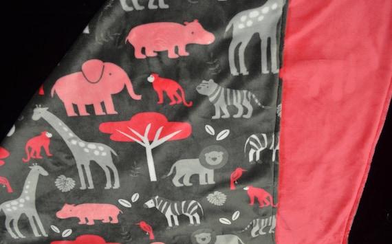 Personalized Minky Baby Blanket-Baby Girl Blanket-Watermelon Charcoal Animal Print Blanket-Going Home Blanket-Soft Baby Blanket