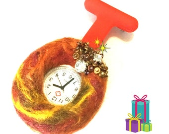 Cubic Zirconia Beaded and Felted Nurses Watch, Unique Xmas Gift, Holiday Gift Guide,, Needle Felted Watch Brooch, Gift Boxed Watch Brooch