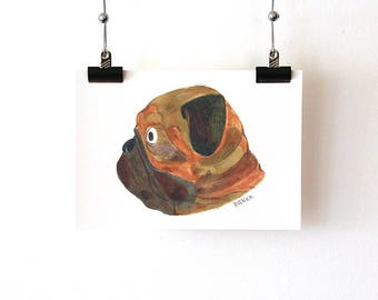 Pug portrait - Fine Art Print A5