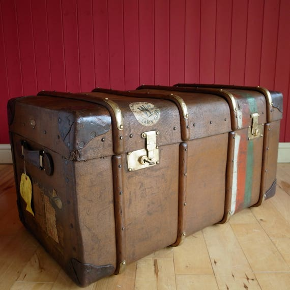 VINTAGE STEAMER TRUNK Coffee Table Storage Chest Old Travel Trunk Blanket Box