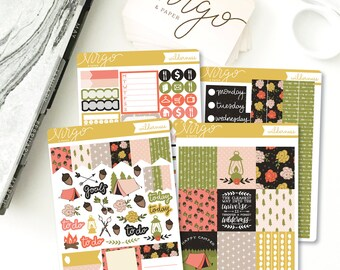 Horizontal Kit - Wilderness Planner Sticker kit - Wilderness, Forest, Camping Horizontal Planner Stickers - Choose matte, glossy WLKH
