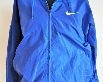 Vintage NIKE Raincoat / Rain coat / Run / Windbreaker/ Outwear / Large / L / Activewear / Jacket / Blazer / Dark Blue