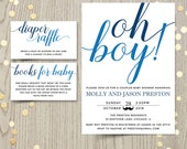 Oh boy baby shower invitation card, couples shower invite, blue baby boy shower printable invitation, personalized invitation, DIGITAL