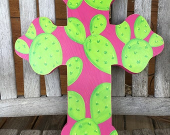 Hand Painted Cactus Cross
