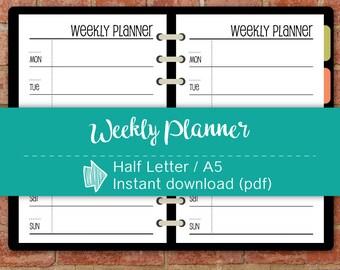 Weekly Planner Printable,Organizer,Weekly Schedule,Printable Planner,Printables,Planner Page,Productivity,Printable Pages #half017