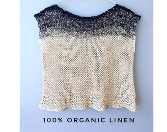 Summer Sale!    Knit crop top Knit Linen top Women knit tops Linen wrap top Knit Linen Tank Loose shirt Knit tank top Summer Organic  Vegan