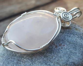 Rose Quartz Pendant Long Silver Filled Necklace, Rose Quartz Wire Wrapped Cabochon Silver Filled Necklace, Long Boho 33 in Gemstone Necklace