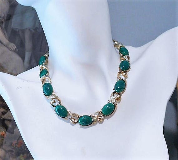 TRIFARI Necklace / Faux Jade Lucite Necklace / Green Cabochon Rhinestone Necklace / 1960s Designer Fashion Necklace
