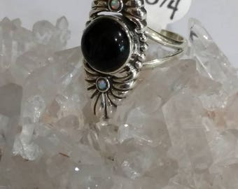 Beautiful Black Onyx and Opal Ring Size 8 1/2