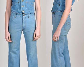 vintage 1970's denim vest and bellbottom set!       H11