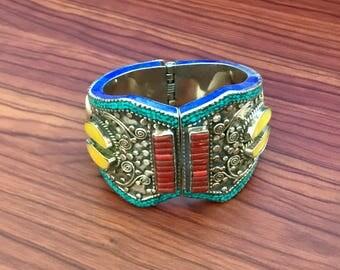 Ethnic Boho Lapis Lazuli  Coral Turquoise Yellow Sapphire Cuff Bracelet