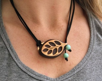 Faux suede necklace with Turquoise Mala Bead for the Bellabeat Leaf