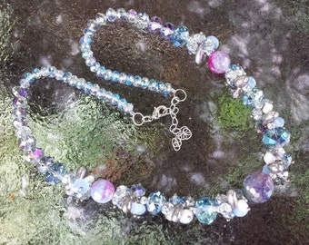 Multi Color Crystal Necklace Blues Lavender