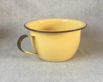 Vintage Tan & Brown Enamelware Deep Pot