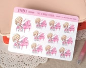Kawaii Girl Decorative Stickers: Piano class ~Valerie~ For your Life Planner, Diary, Journal, Scrapbook...