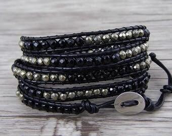 Wraps bracelet Black agate bracelet Facted beads bracelet Leather Wrap bracelet pyrite beads bracelet Boho bracelet Men bracelet SL-0534