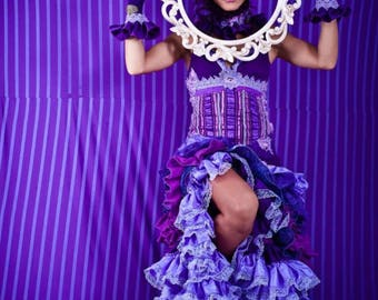 Purple gala dress - burlesque - steampunk - ruffles - halloween - burning man