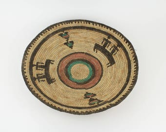 Tribal Indian Basket - Handwoven - Multicolored - Eclectic - Ethnic - Vintage - Tribal Art