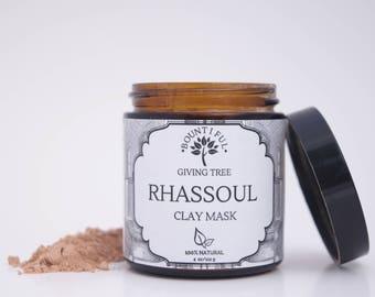 Clay Mask, Face Mask, Facial Mask,Detox Mask, Natural Face Mask, Organic Face Mask, Vegan Face Mask, Rhassoul Clay, Hair Mask, Spa, 4oz Jar