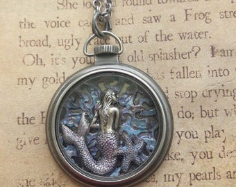 ShadowboxMermaid Steampunk Necklace, Mermaid Necklace, Steampunk Necklace, Steampunk Jewelry, Mermaid Jewelry,  Nautical Necklace