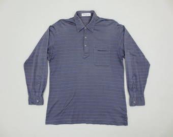 Balmain Shirt Vintage Balmain Casual Shirt Pierre Balmain Paris Striped Polo Shirt Mens Size S/M