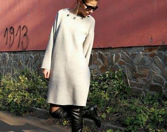 NEW Asymmetrical Extra Long Sweatshirt Dress / Quilted Gray Sweatshirt / Sweatshirt Dress by FabraModaStudio / SW001