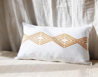 Decorative pillow case / handprinted in France / geometric print