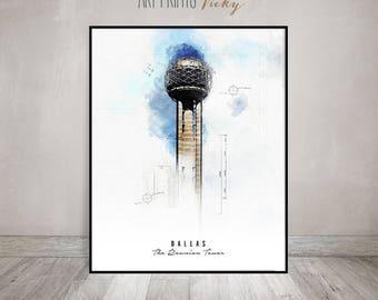 Dallas The Reunion Tower poster print   ArtPrintsVicky.com