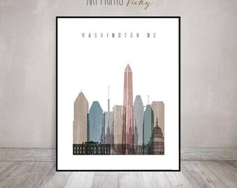 Washington DC print, distress poster, Wall art, Washington DC skyline, City poster, Typography art, Home Decor, travel poster ArtPrintsVicky