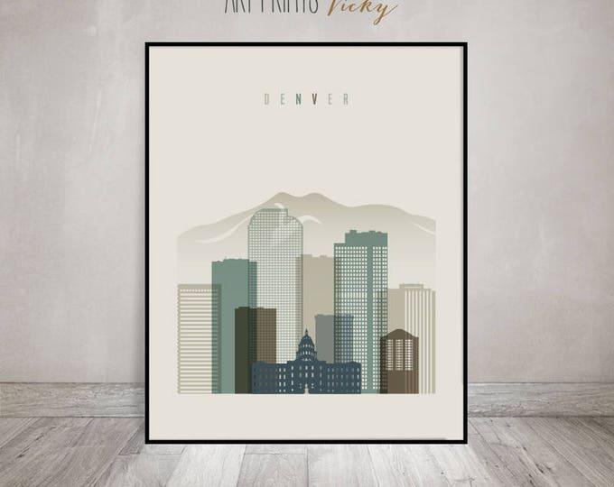 Denver print, Poster, Wall art, Colorado cityscape, Denver skyline, City poster, Typography art, Home Decor, Digital Print, ArtPrintsVicky