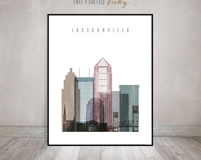 Jacksonville wall art, Jacksonville print, Travel poster, Florida cityscape, skyline, housewarming gift, distressed art, ArtPrintsVicky