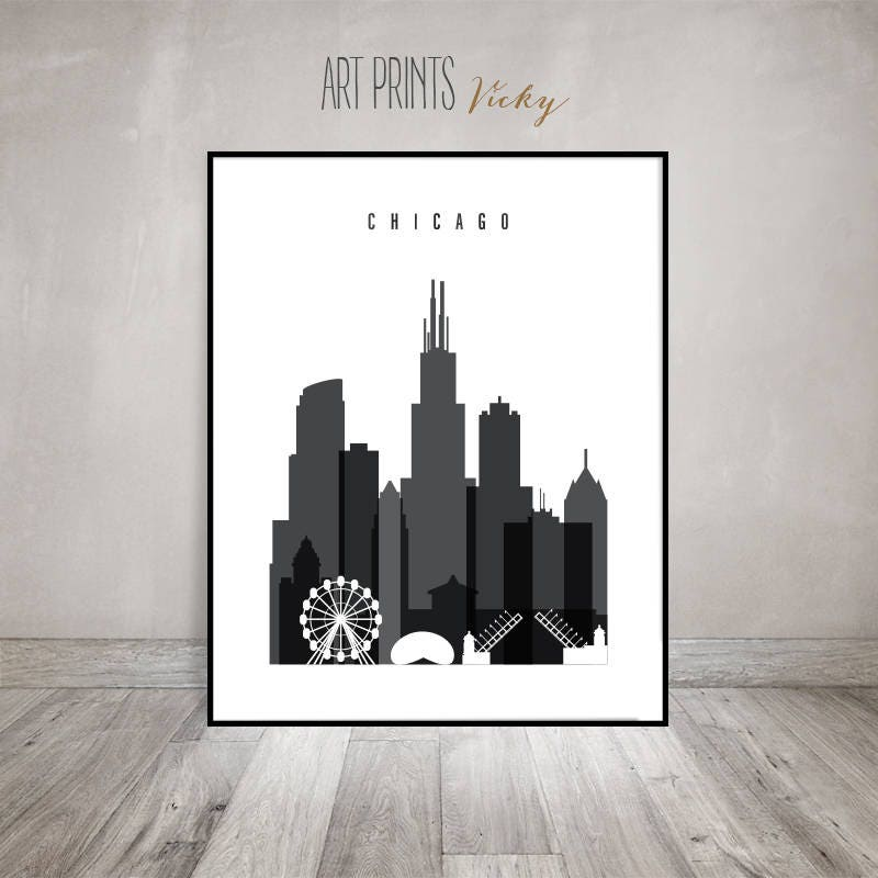 Chicago Art Poster, Black And White Print, Chicago Skyline, Travel,  Minimalist Art, Wall Decor, Wall Art, Home Decor, ArtPrintsVicky