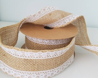 Rustic Wedding Party JUTEX NATURAL RIBBON With White Lace Edges Jute Hessian Tape Roll Wrapping Mesh Burlap, 5m