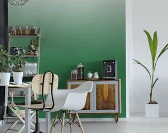 Green and White Ombre Wallpaper, Vignette Wallpaper, Green Home Decor, Traditional Paste & Glue Wallpaper