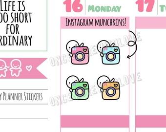 Munchkins -  Pastel Instagram Social Media Munchkin Planner Stickers (M295)