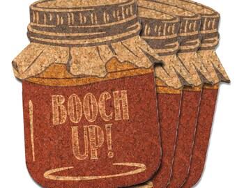 Booch Up! Mason Jar Cork Coasters, Kombucha Cork Coasters, Cork Coaster Gift Set, Set of 4